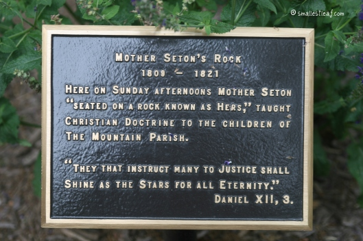 Plaque indicating Mother Seton's Rock