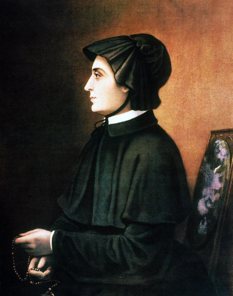 In 1809 Elizabeth formed the Sisters of St. Joseph, took her vows, and began to wear a habit modeled after the Italian widow's dress and bonnet she had worn while mourning the death of her husband